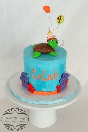 Buttercream ocean birthday cake with fondant party sea turtle