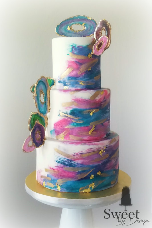 Modern geode agate wedding cake by Sweet By Design