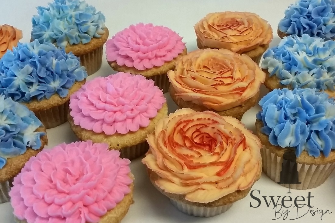 Custom Buttercream Flower Cupcakes by Sweet By Design in Melissa, TX