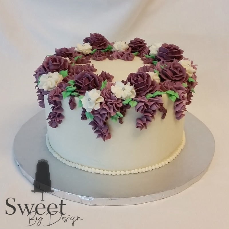Purple buttercream flowers cake by Sweet By Design in Melissa, TX