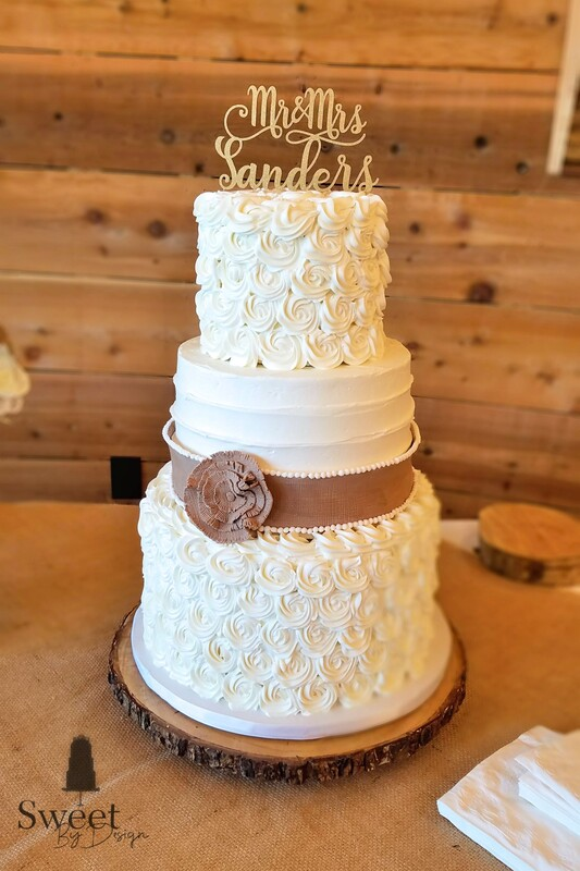 Rosette and texture buttercream wedding cake with fondant burlap by Sweet By Design