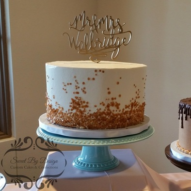 Gold Sequin Wedding Cake Bar by Sweet By Design at The Laurel in Grapevine