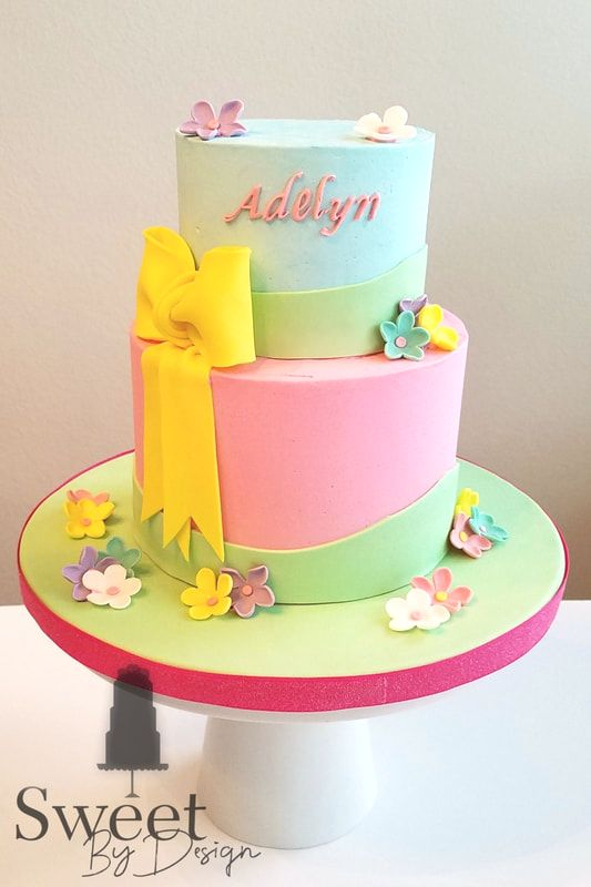 Fondant flower baby shower cake by Sweet By Design in Melissa, TX