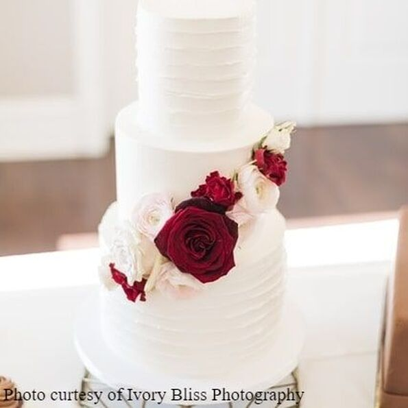 Small textured wedding cake by Sweet By Design