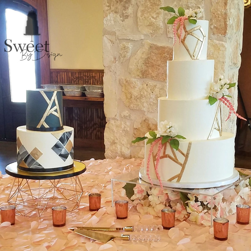 Geometric wedding and groom's cake by Sweet By Design