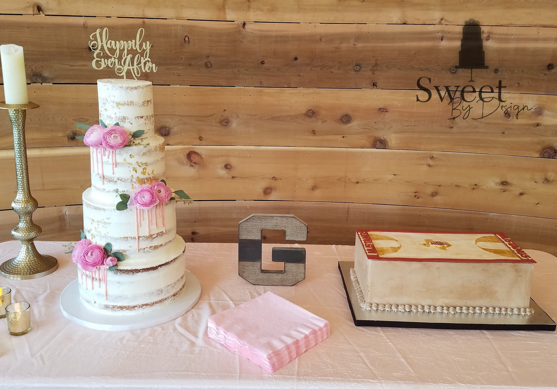 Naked wedding cake and basketball groom's cake by Sweet By Design