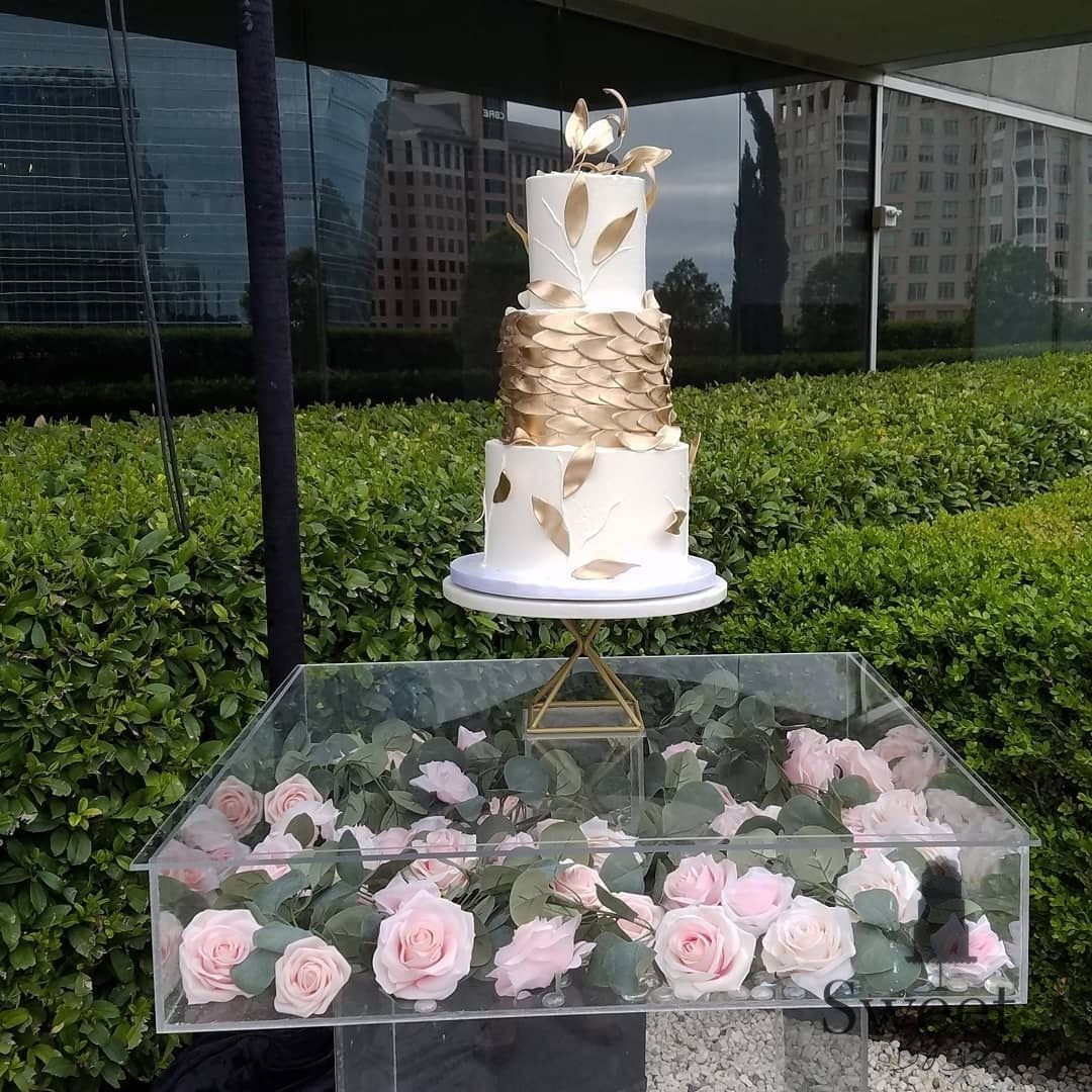 Gold leaf wedding cake by Sweet By Design