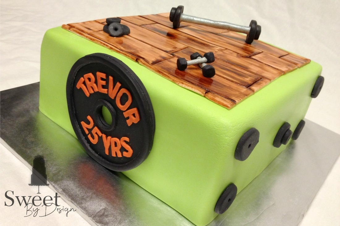Gym weights / workout cake by Sweet By Design in Melissa, TX