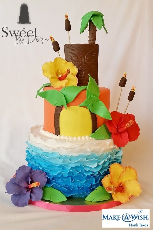 Fondant Hawaiian Beach cake by Sweet By Design in Melissa, TX