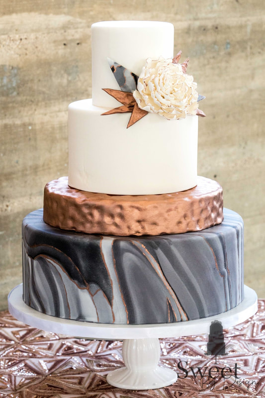 Marble copper rose gold wedding cake by Sweet By Design