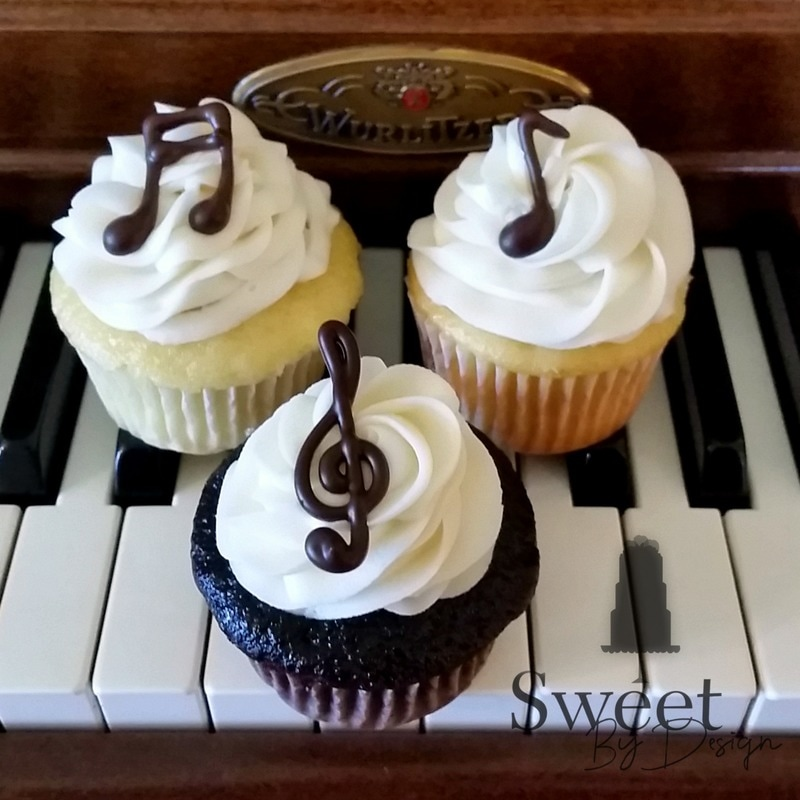Custom Chocolate Music Note Cupcakes by Sweet By Design in Melissa, TX