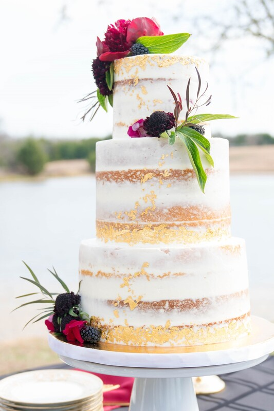Naked cake with gold leaf by Sweet By Design