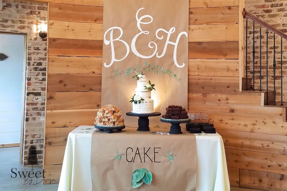 Semi naked wedding cake brownies and cereal treats by Sweet By Design