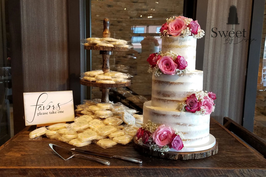 Naked wedding cake with cookie favors by Sweet By Design