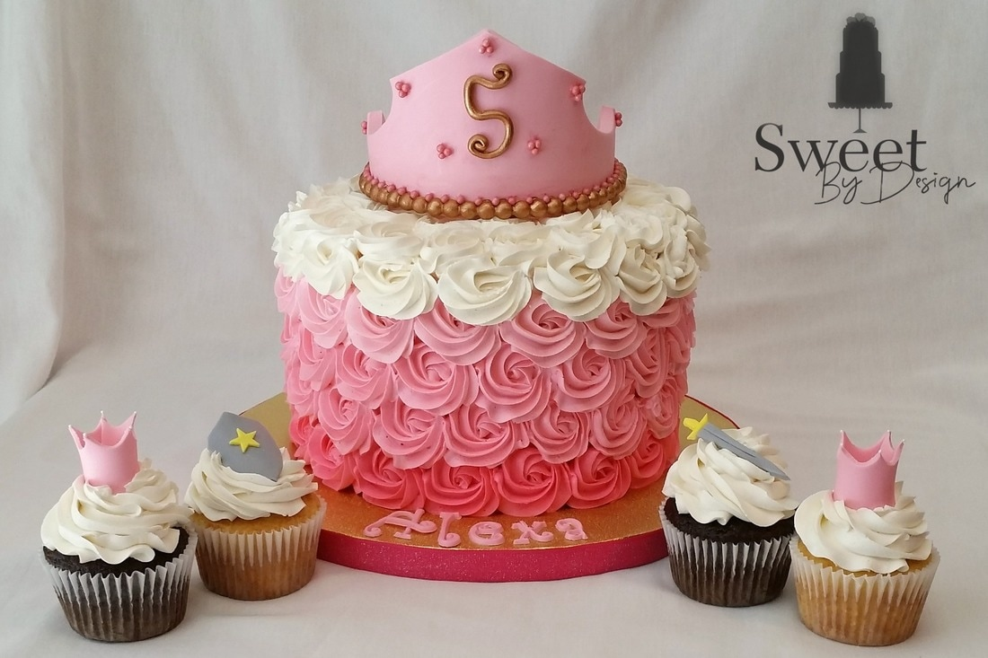 Princess ombre pink birthday cake and cupcakes by Sweet By Design in Melissa, TX