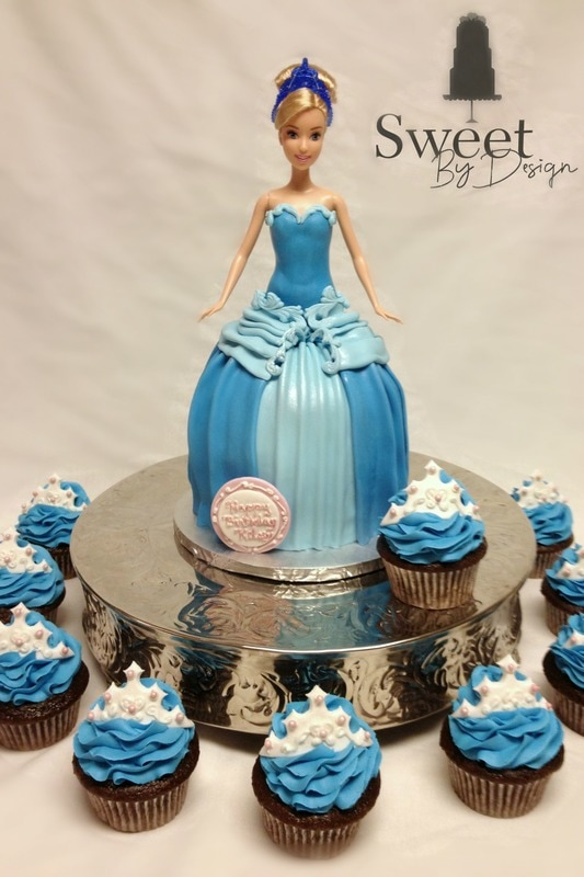 Princess doll cake and cupcakes by Sweet By Design in Melissa, TX