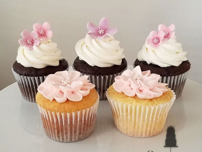 Buttercream and fondant flower cupcakes by Sweet By Design in Melissa, TX