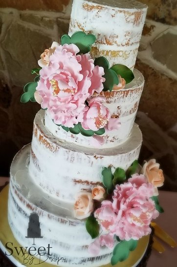 Fondant peonies and roses on a naked wedding cake by Sweet By Design in Melissa, TX