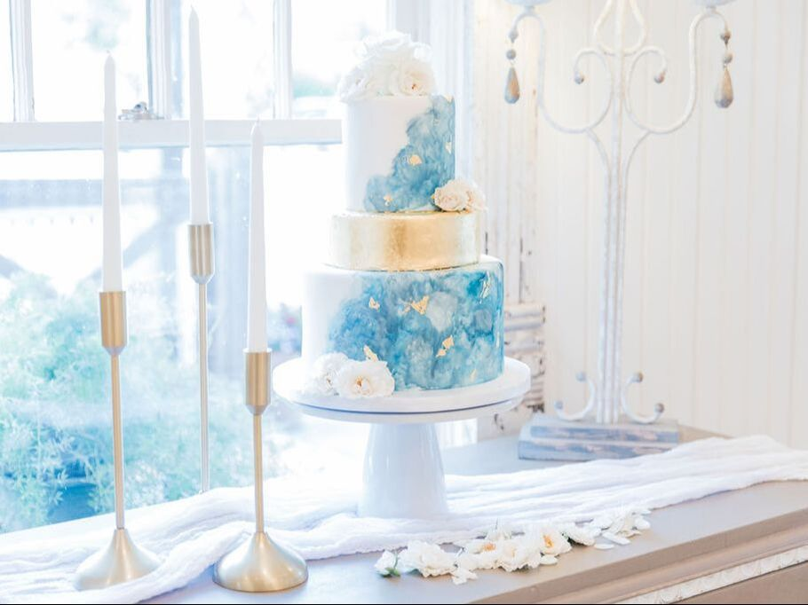 Blue marble wedding cake by Sweet By Design in Melissa, Texas