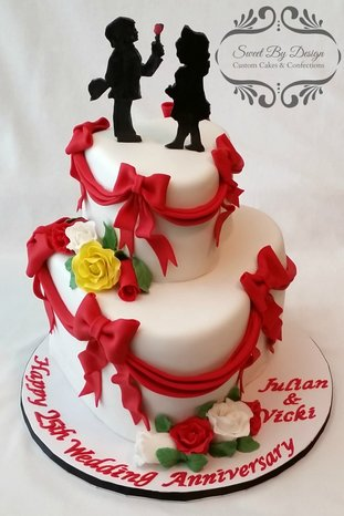 Young Love 25th Anniversary Heart Cake