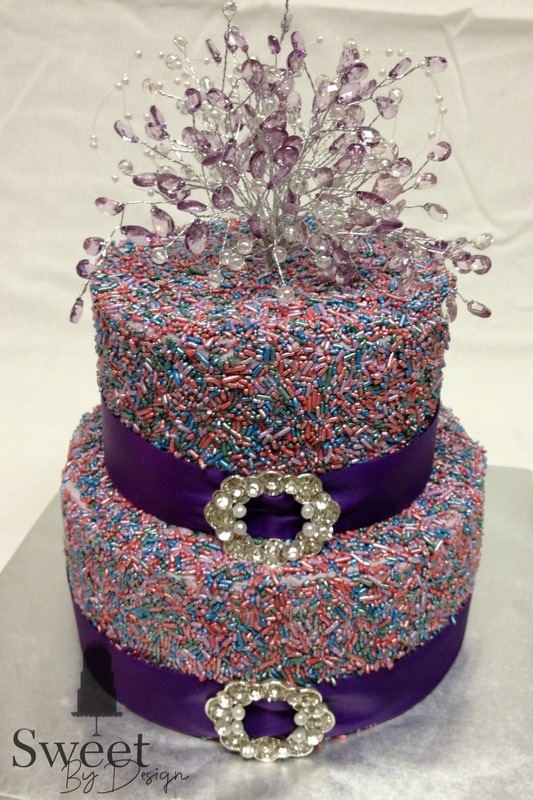 Purple sprinkle cake by Sweet By Design in Melissa, TX