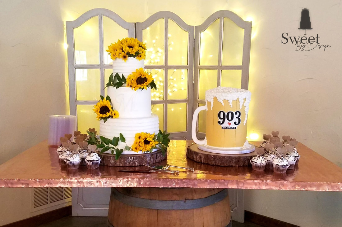 Buttercream texture monogram and sunflower wedding cake and beer mug groom's cake by Sweet By Design