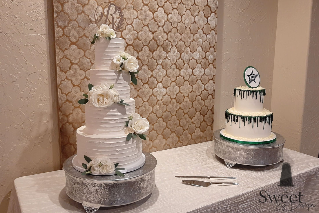 Horizontal buttercream texture wedding cake and chocolate drip groom's cake by Sweet By Design