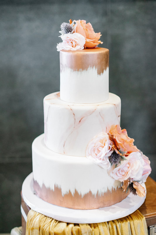 Pink marble and rose gold wedding cake by Sweet By Design
