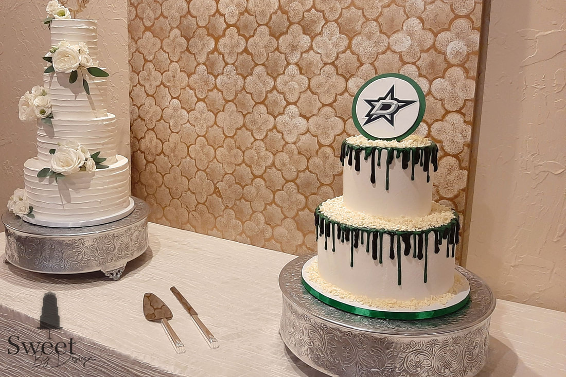 Green and black chocolate drip groom's cake by Sweet By Design