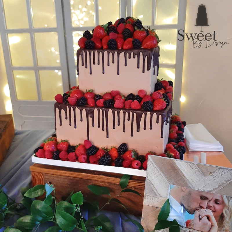 Chocolate drip and fruit groom's cake by Sweet By Design