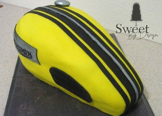 Motorcycle gas tank groom's cake by Sweet By Design